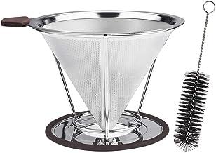 Vicloon Roestvrijstalen Koffiefilter, Herbruikbare Filter Koffiefilter Met Reinigingsborstel, Giet Over Kegel Koffiedruppe...