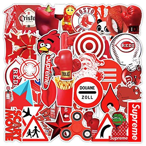 WUWEI Serie roja Pegatina de Dibujos Animados Maleta Maleta Teléfono portátil Graffiti Pegatinas Decorativas 50 Hojas