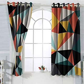 Jinguizi Grommet Window Curtain Blackout Curtain Abstract,Cubist Art with Several Multicolored Geometrical Shapes Forming a Unified Work,Multicolor Drapes Panels 63 x 45 inch