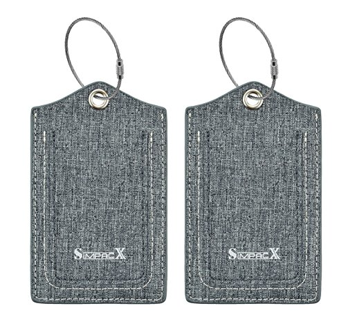 Chelmon Initial Luggage Tag with Full Privacy Cover and Stainless Steel Loop (grey)