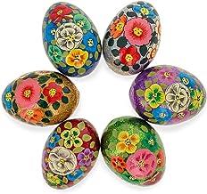 BestPysanky Set of 6 Glittered Flowers Ukrainian Wooden Easter Eggs Pysanky 3 Inches
