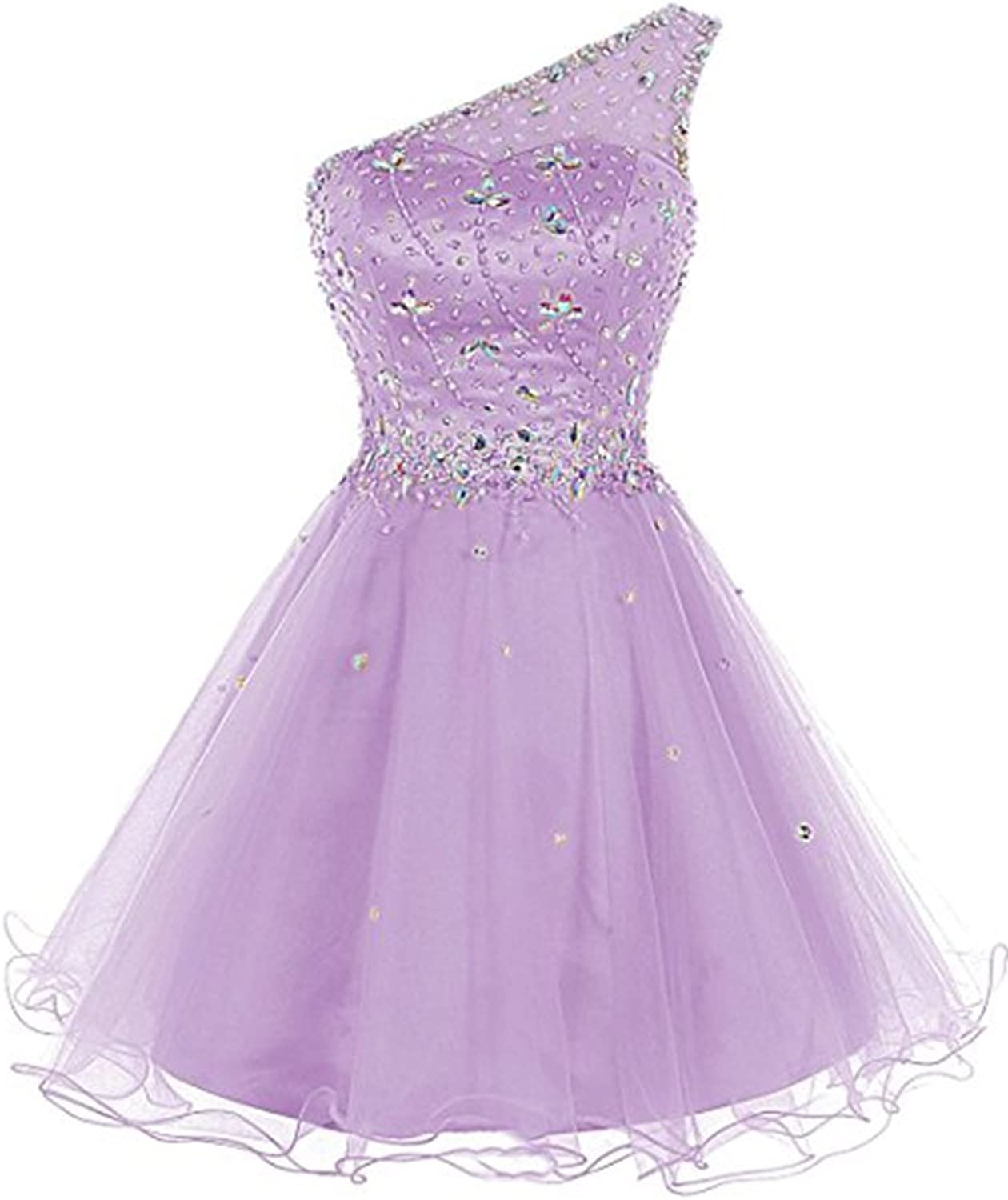 Emmani Womens Short Tulle Homecoming Dress One Shoulder Beaded Cocktail Prom Party