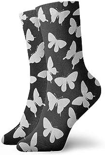 BEDKKJY, Calcetines Deportivos Blanco Mariposa Arte Negro Maravilloso Hombre Calcetín Informal Accesorio Calcetín para niños