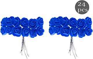 Confidence Women's and Girl's Artificial Flower for Hair Style (25 Gram, Blue) - Set of 24
