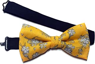 Yellow Cherry Blossom Shadows Bow Tie Oriental Style-for Men, Young Adult