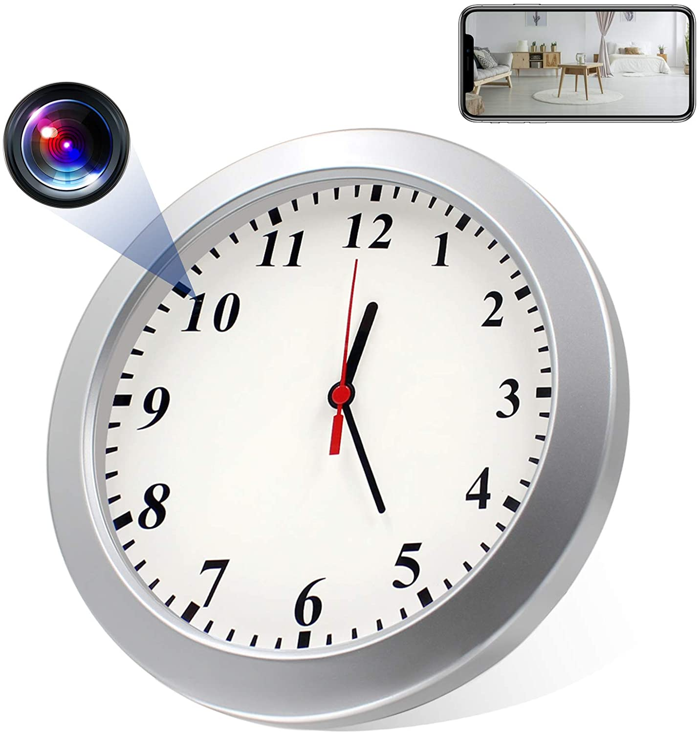 Spy Wall Clock Camera, Hidden Spy Camera Clock HD 1080P Clock Camera Nanny Camera with Motion Detector Video Recorder for Home Security and Office Security, No WiFi Needed