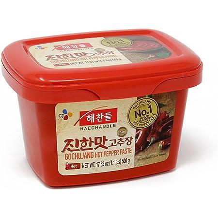 CJ Haechandle Gochujang, Hot Pepper Paste, 500g (Korean Spicy Red Chile Paste, 1.1 lb.)