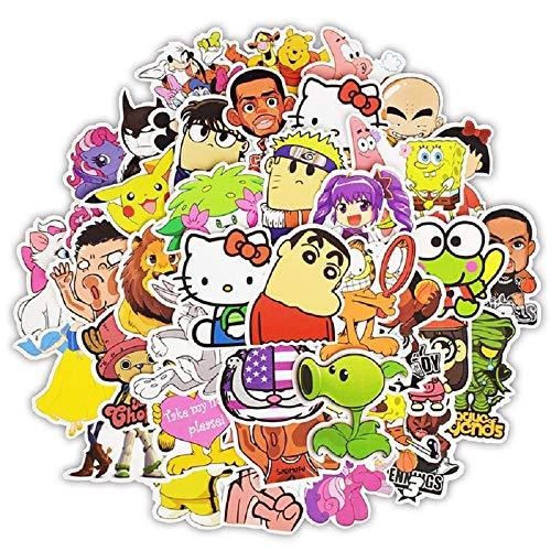 Top Aufkleber! Set von 50 Comicstrip Comic Aufkleber Premium Qualität - Vinyls Stickers Nicht Vulgär – Garfield Hello Kitty Tom Jerry Sponge Bob - Anpassung Laptop, Gepäck, Moto, Skateboard