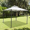 Outsunny Carpa 3x3x2.6m Cenador Jardin Marco de Acero y 4 Paraviento Lateral Color Crema: Amazon.es: Jardín