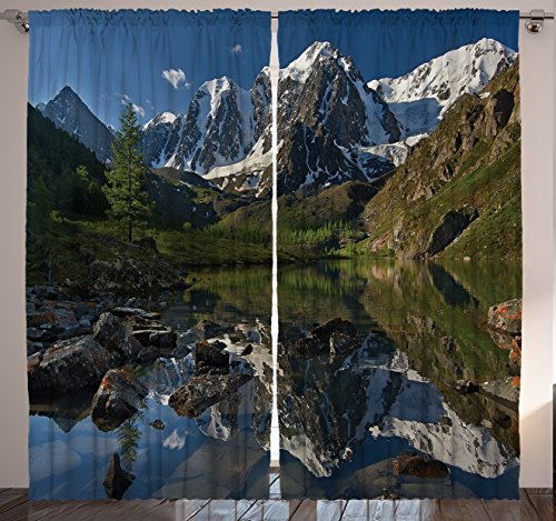 """Ambesonne Mountain Range Curtains, A Pastoral Nature Snowy Alps Photography The Peaks with Lake Creek River Idyllic Spring Scene, Living Room Bedroom Window Drapes 2 Panel Set, 108"""" X 84"""", Green White"""