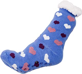 Women's Warm Heart Print Knit Long Sock Lining inside and Silicon Rubber Grippers