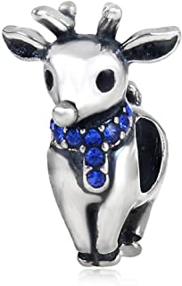 Choruslove Christmas Reindeer Charm with Sapphire Crystal Scarf Genuine 925 Sterling Silver Bead for European Bracelets