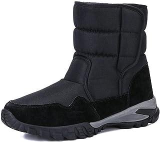 XSWL Bottes De Neige Hommes, Chaussures d'hiver Épaissir Fourrure Antidérapante Imperméable Bottes De Neige