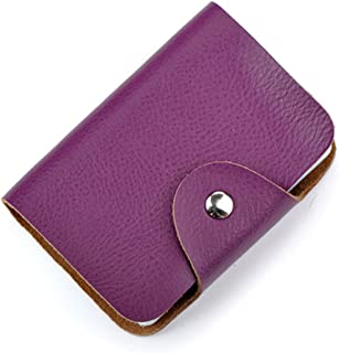 Aladin Unisex Small Leather Credit Card Holder with 26 Plastic Card Slots