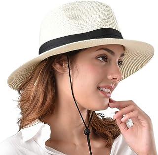 b06a1a5fb27fd Womens Wide Brim Straw Panama Hat Fedora Summer Beach Sun Hat UPF50