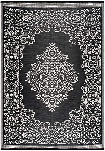 Lightweight Indoor Outdoor Reversible Plastic Area Rug - 5.9 x 8.9 Feet - Medallion Oriental Design - Black/White