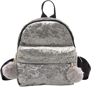 Kwok Women Girl Velour Backpack Hairball Solid Color Travel School Crossbody Bag Messenger Bag Leisure Bag Shoulder Bag Wallet Mobile Phone Bag