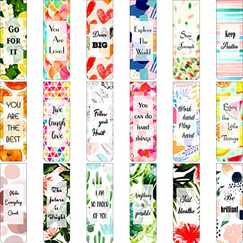 36 Pieces Floral Style Bookmarks Positive Magnet Page Marker Inspirational Quotes Bookmarks Colorful Motivational Bookmarks for Classmates Party Supplies, 18 Styles