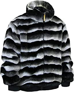 Urban Fur Fitter Men's Faux Fur Reversible Jacket 9FJ01 Chinchilla Black White