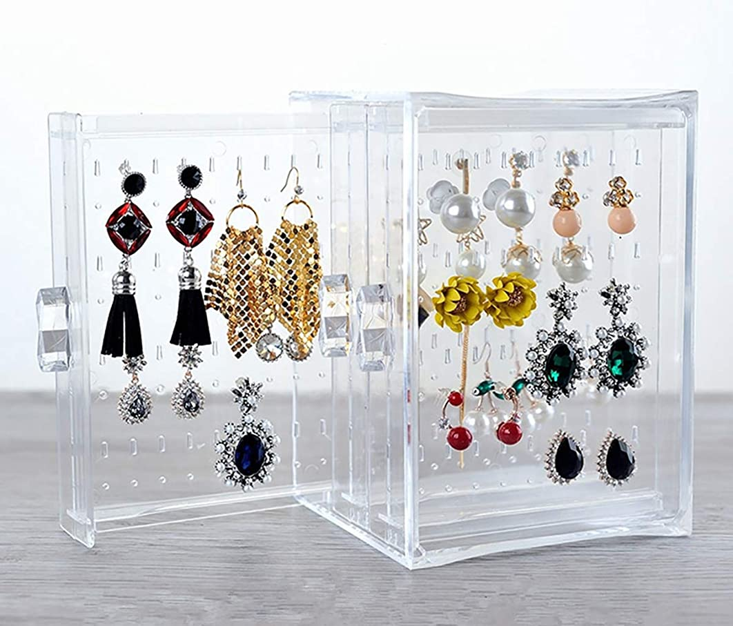 RISINGSUN Earrings Storage Acrylic Box Hanger Acrylic Display Ring Necklace Bracelet Case Decor Clear Transparency 3 Rows Studs Holder for Women Girls Birthday Gifts