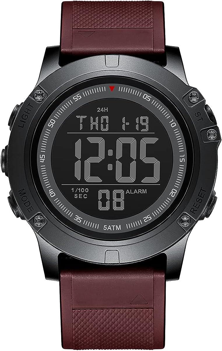 GOLDEN HOUR Reloj Deportivo Digital Impermeable Estilo Militar táctico con retroiluminación LED, Correa de Goma para Hombre