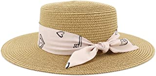 LIWENCUI Ladies Jazz Hat for Summer Travel Wild Pure Color Sun Hat with Fashion Pink Ribbon Top Woman Straw Hat (Color : Light Coffee, Size : 56-58CM)