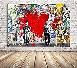 Faicai Art Banksy Graffiti Street Art Pop Art Red Heart Canvas Paintings Wall Art Prints Posters Modern Home Decorations Kids Room Wall Decor Wooden Framed 24'x36'