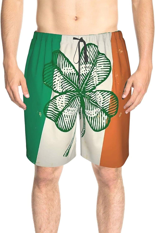 Men's Swim Shorts Irish Flag Clover Beach Board Shorts Quick Dry Comfy Summer Beach Shorts with Lining