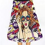 Gonna Casual da Donna Contrasto del Modello dei Graffiti a Pieghe Gonne Estate Splendidamente del Fumetto delle Donne Stampato Elastico in Vita A-Line Gonna Longuette Vestito Casual Casual