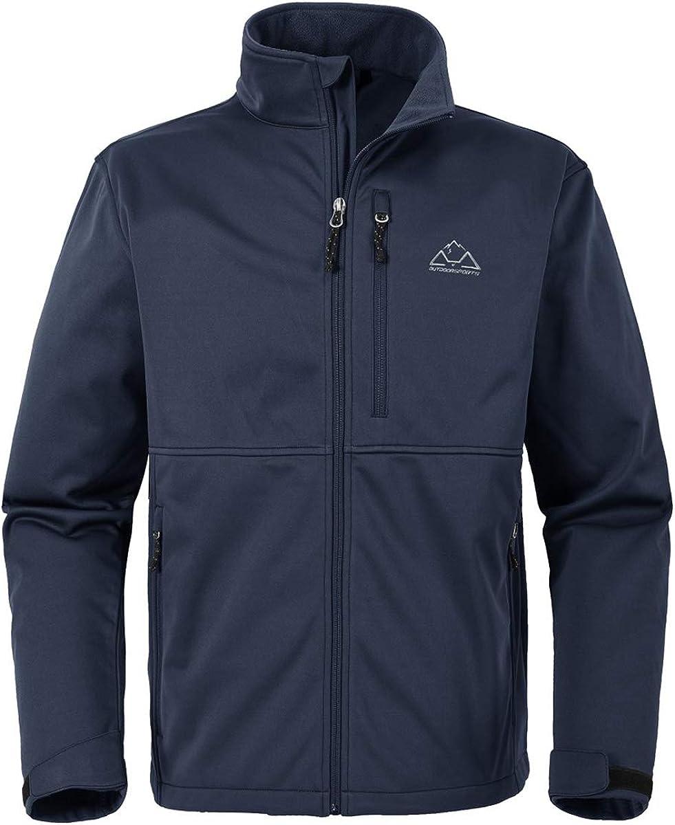 Rdruko Men's Outdoor Softshell Jacket Polar Fleece Lined Waterproof Tactical Hiking Climbing Hooded Jacket: Clothing