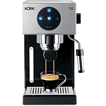 Solac CE4552 Squissita Touch - Cafetera espresso, 1.5 l, 1000 W, portafiltros para 1 o 2 cafés, táctil, auto-parada, auto-off, double cream, vaporizador, Multicolor