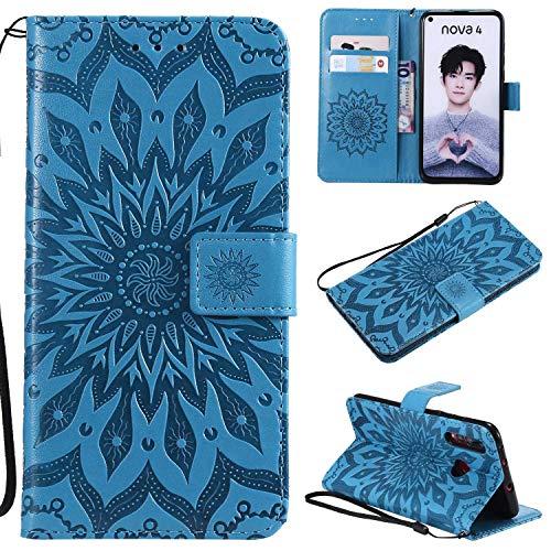 KKEIKO Huawei Nova 4 Funda, Huawei Nova 4 Flip Cuero Cartera Funda Estilo Portátil Diseño Sol Flor a prueba de golpes Funda para Huawei Nova 4 - Azul