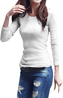 Sceoyche Fashion Women Solid Long Sleeve Slim Fit Round Neck Stretch Casual Bottoming Top