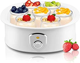 Automatic Yogurt Maker Machine 7 Glass Greek Jars Customize To Your Flavor And Thickness Electric Maker 1.5L (White)