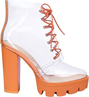 OLCHEE Women's Fashion Clear Lace Up Ankle Boots - Transparent TPU Platform Block High Heels