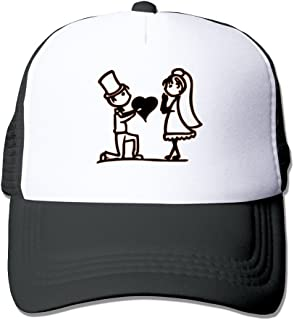 Give My Heart For You Stick People Couple Design Mesh Hat Black