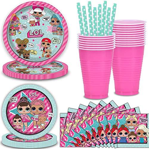 Amazing Deal LOL Surprise Party Supplies, Serves 40 Bundle with - Plates, Napkins, Cups, Straws - Gr...