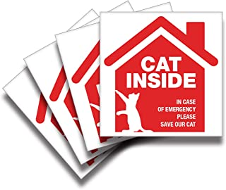 iSYFIX Cat Inside Alert Signs Stickers – 4 Pack 5x5 Inch – Premium Self-Adhesive Vinyl, Laminated for Ultimate UV, Weather, Scratch, Water and Fade Resistance, Indoor and Outdoor