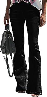 Aleumdr Femme Jean Évasé Pants Pantalon Boutonné Jeggings Stretch Zippé Coupe en Denim Elastique Leggings avec Poche Bootc...