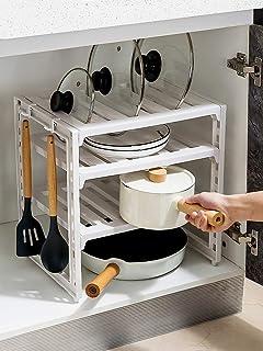 Sous l'étagère de l'évier,etagere rangement Étagère encastrée dans le meuble Ajustable Sous le support d'évier Support de ...