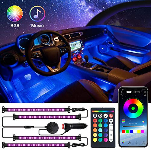 MustWin Interior Car Lights with APP & Remote Control & 4 Buttons Control 2 in 1 Design 4pcs 48 LEDs Car LED Strip Lights Multicolor Music Lighting Kit Under Dash Car Lighting Sync to Music DC 12V