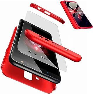JJWYD Funda para Samsung Galaxy A6 2018 + Gratis Cristal Templado, para Samsung Galaxy A6 2018 Funda 3 in 1 Hard Caja Caso PC Protective Ultra Delgado Anti-rasguños Case Cover Caso - Rojo