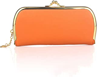Women Lichee Pattern Evening Clutch Bag Ladies Day Clutch Purse Chain Handbag,Orange