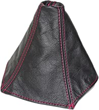 The Tuning-Shop Ltd for Pontiac GTO 2004-2006 Shift Boot Black Genuine Leather RED Stitching