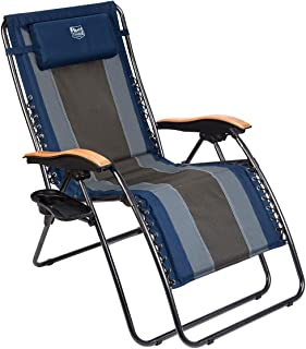 Timber Ridge Zero Gravity Locking Patio Outdoor Lounger Chair Oversize XL Padded Adjustable Recliner with Headrest Support 350lbs, Navy Blue