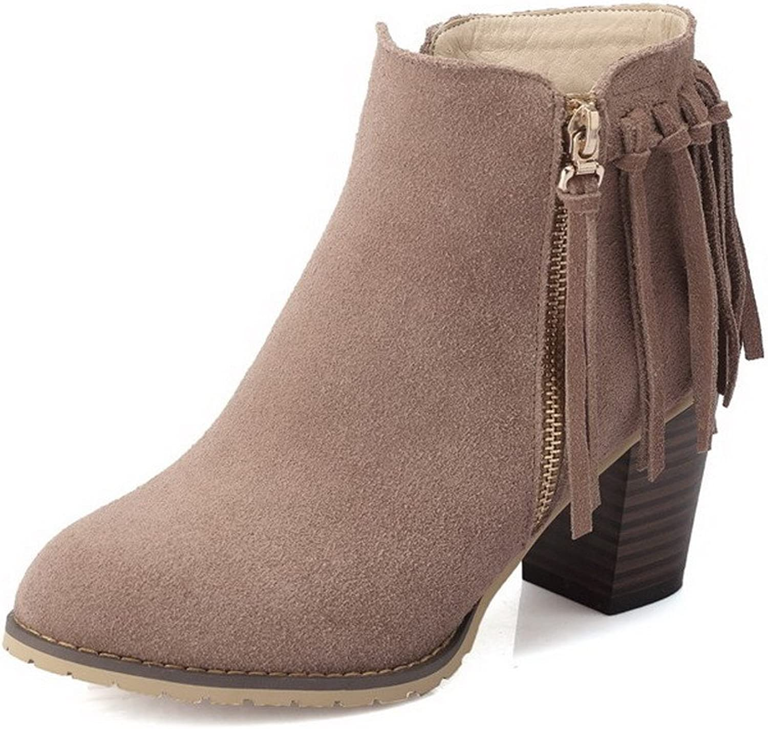 AllhqFashion Women's Cow Leather Frosted Kitten-Heels Boots with Tassels