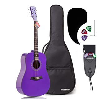 Acoustic Guitar Bundle Dreadnought Series by Hola! Music with D`Addario EXP16 Steel Strings, Padded Gig Bag, Guitar Strap ...