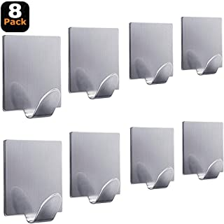 Self Adhesive Hooks Heavy Duty Max 8.8lbs/4kg Wall Hangers Stick on Hooks for Hanging Towels, Hats, Robes, Keys, Kitchen Utensils Stainless Steel Waterproof-8 Packs