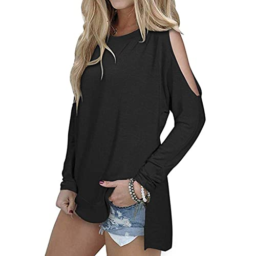 a5d7ccdcd8d SimpleFun Women s Cutout Cold Shoulder Long Sleeve T-Shirt Tunic Tops Loose  Casual Side Split