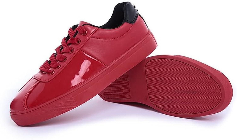 Gräv hundben Män's Sneeaker Flat Heel Lace Up Patent läder läder läder Fast färgskor  den nyaste
